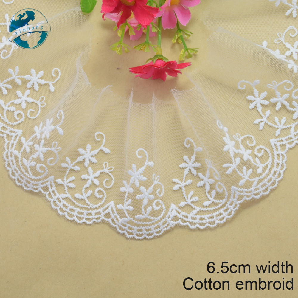Home & Garden Apparel Sewing & Fabric 5yards White Lace 4cm Width 100% Cotton Embroid Lace Sewing Ribbon Guipure Trim Fabric Warp Knitting Diy Garment Accessories3169
