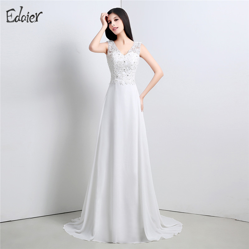Elegant simple beach wedding dress casual v neck chiffon for Simple casual wedding dresses