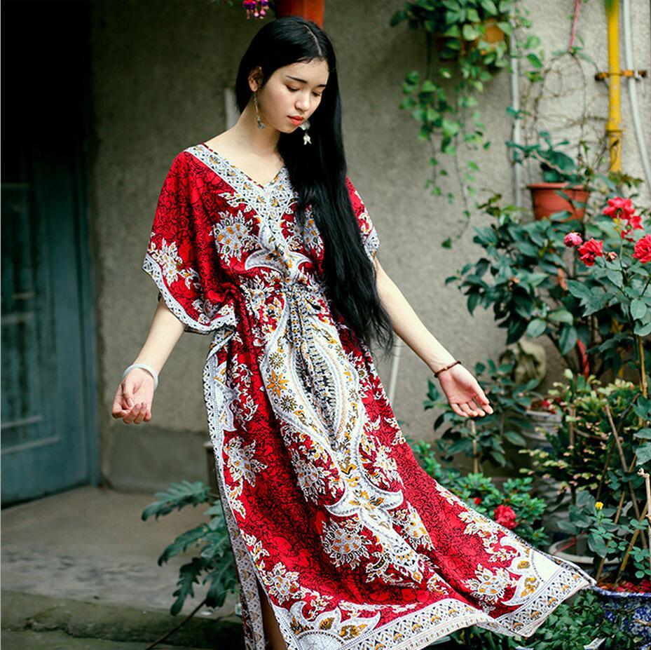 2017 Beach Dress Kaftan Ethnic Rayon Maxi Dress Women Vintage Tunic Boho Casual Printed Long Dress Vestidos De Fiesta #P126