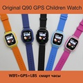 Sos smart watch q90 inteligente bebé embroma el teléfono reloj q90 Pantalla táctil de WIFI GPS Localizador de Posicionamiento Dispositivo Anti Perdido Monitor