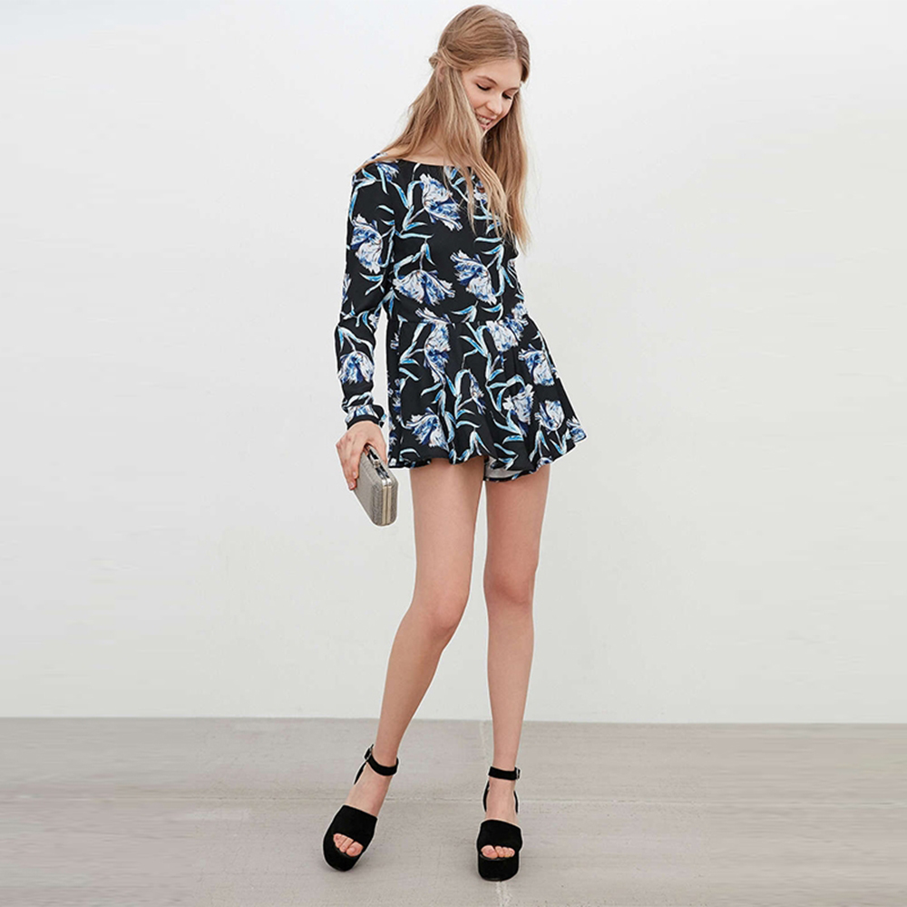 efd83a2210 RichLuLu Summer Floral Print Women Romper Playsuit Slash Neck Sexy Backless Female  Playsuit Pleated Cute Long Sleeve Romper-in Rompers from Women s Clothing  ...