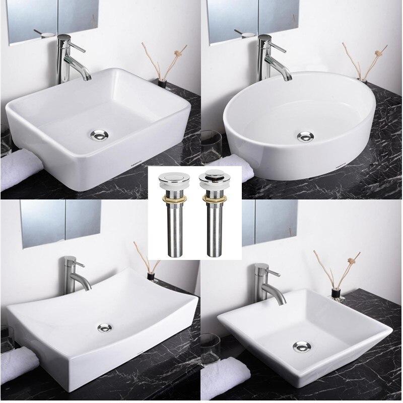 Bassin de vanité de maison de cuvette d'évier de récipient en céramique de porcelaine de salle de bains avec le Drain de Pop-up