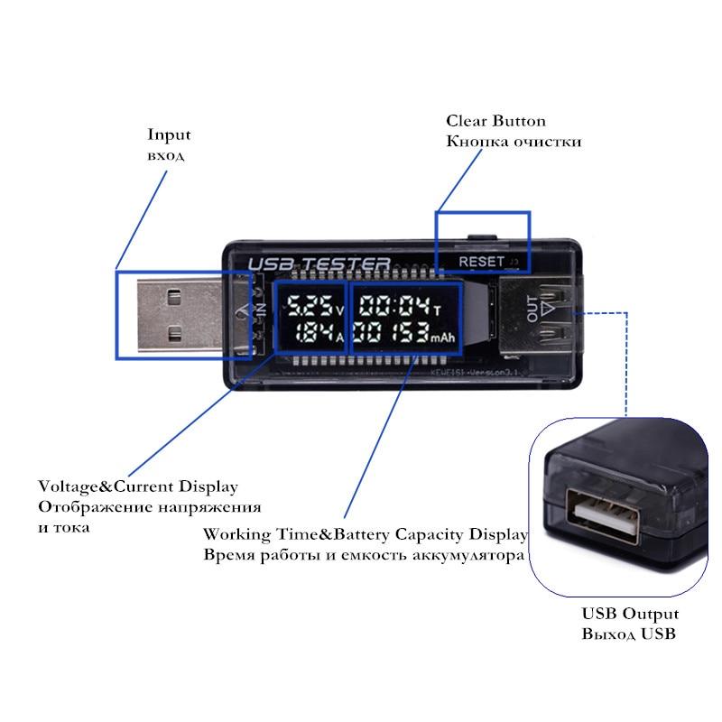 aukštos kokybės USB testerio įkroviklio srovės įtampos įkrovimo - Matavimo prietaisai - Nuotrauka 2