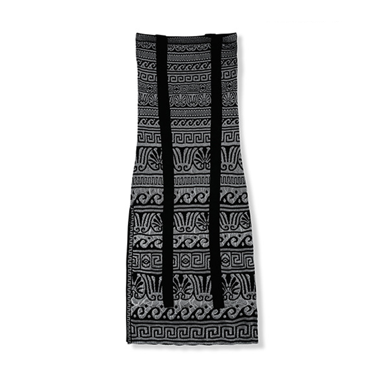 RG Vintage National Style Knitting Dress Geometric Pattern Knitt Spaghetti Strap Plus Size XL Women Maxi Dresses Holiday Summer