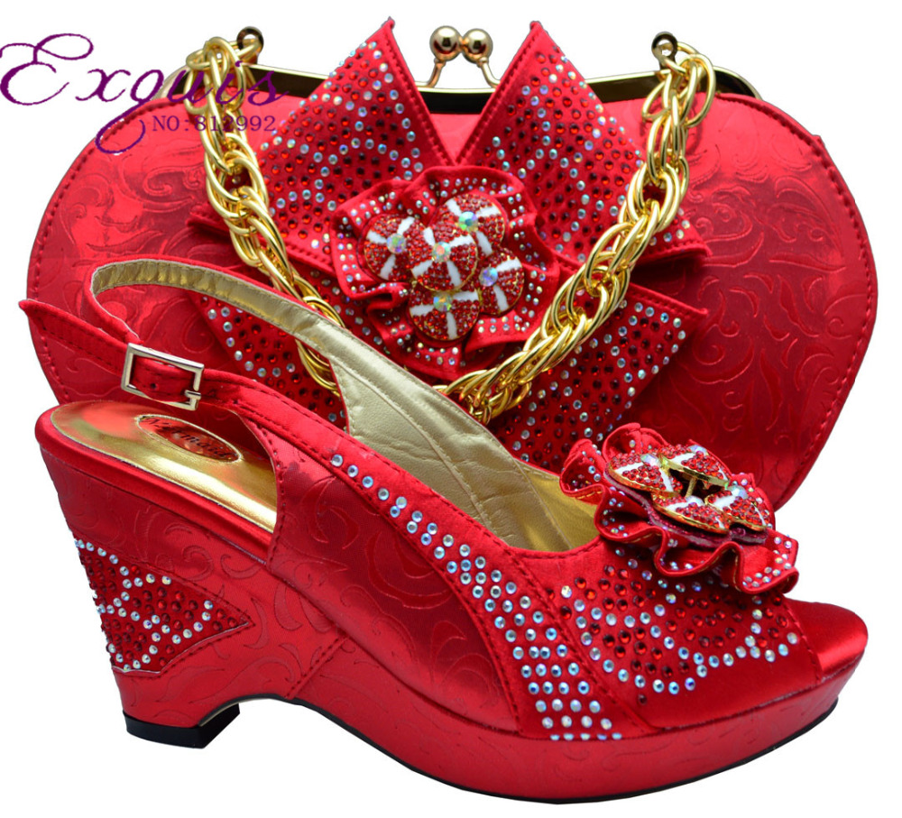 ФОТО FREE SHIPPING 2015 NEW ARRIVAL!High quality matching Lady  italian design shoe and bag set  in red color item MM1001