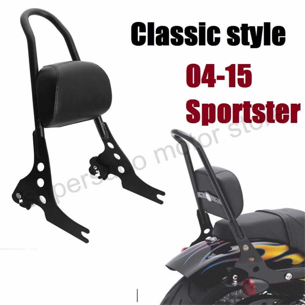 Motorcycle Passenger Backrest Sissy Bar Cushion Pad For Harley Sportster XL883 1200 48 04 15 Black