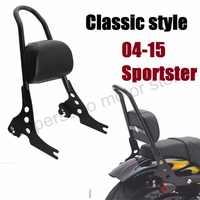 Motorcycle Passenger Backrest Sissy Bar Cushion Pad For Harley Sportster XL883 1200 48 04-15 black