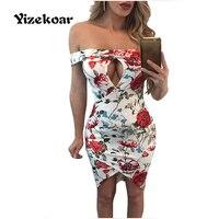 Yizekoar Robe Femme Sleeveless Fold Off Shoulder Peek A Boo Floral Dress Slim Party Bodycon Dress Hollow Out Dress