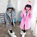 Girls Outerwear Trench Hooded Children Coat Autumn 2016 Teenage Girls Clothing Fashion Clothes Pink Grey Red Long Coats for Girl