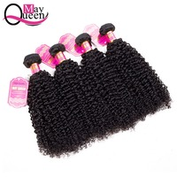 May Queen Hair Malaysian Kinky Curly 3&4 Pieces Remy Hair Extensions 100% Human Hair Weave Bundles Natural Black Can Be Dyed