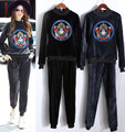 Big Size New Women Tracksuits Sportswear Suits Winter Autumn Embroidery Tops Pants Suts Women Clothing Set Hoodies NS582