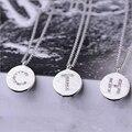 925 Collar de Plata de ley Para Las Mujeres de Moda de Cristal Carta Colgante Collar Cuerpo Cadena Esterlina de Plata de La Joyería Para La Mujer