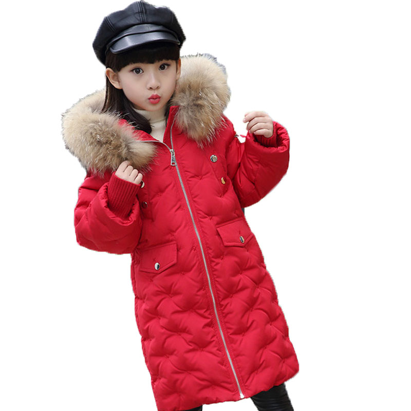 2018 Children Winter Jackets Girls White Duck Down Coat Kids Warm Outerwear Real Fur Collar Hooded Coats Overcoat Clothes E242 mioigee 2017 children winter coat baby white duck down jackets real fur hooded warm winter kids clothes girls outerwear jackets