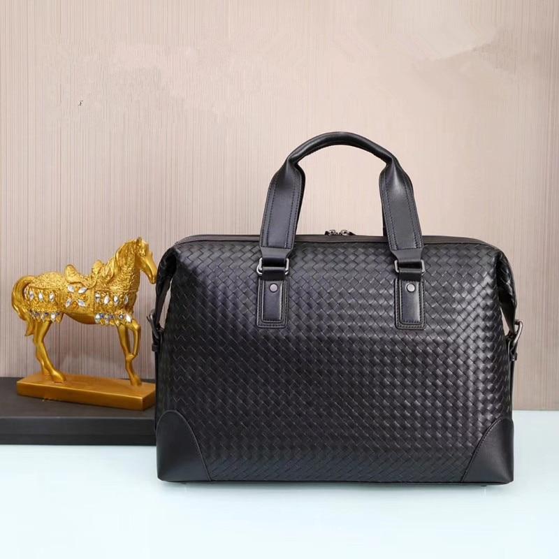 Kaisiludi Leather Woven Men's Bag Handbag Cowhide Computer Bag Large-capacity Briefcase Men's And Women's Oblique Span Bag Fashi