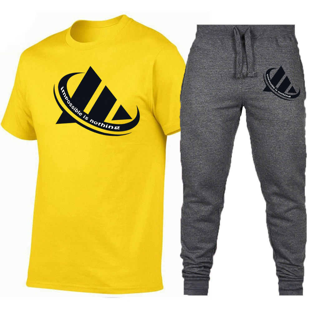 Hot New Brand Adi Sets 2019 Summer Men T Shirts+Pants Two Pieces Sets Casual Tracksuit Male/Female Casual Fashion T Shirt
