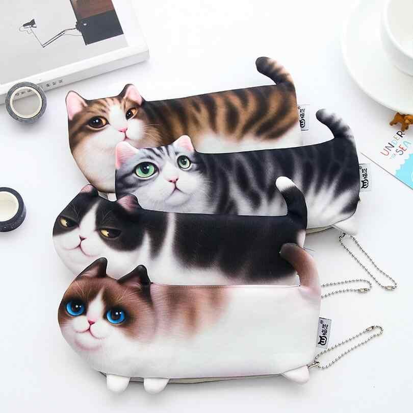 34354434d Nuevo lindo gato impreso cremallera moneda monederos para niños estudiantes  lápiz caso de cartera moneda bolsa