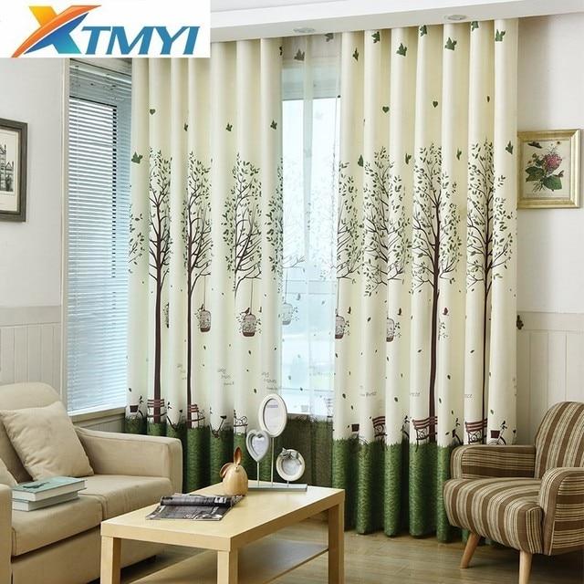 Korean Green Printing Trees Curtains Living Room Window Home Decorative