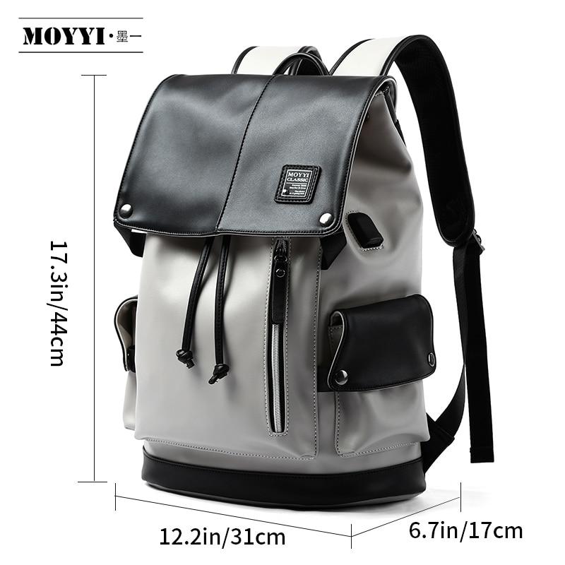 MOYYI Brand waterproof 14 inch laptop backpack men leather backpacks for teenager Men Casual Daypacks mochila