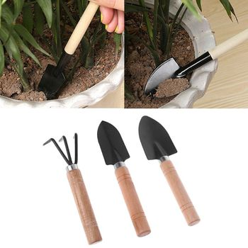 3pcs Mini Garden Shovel Rake Spade Erramientas Bonsai Tools Set Wooden Handle For Flowers Potted Plant