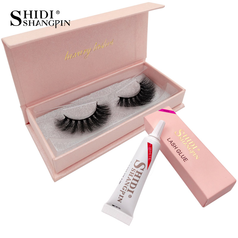 89c33a8a9e6 SHIDISHANGPIN 1 box mink eyelashes + 1 piece eyelash glues makeup lashes  set hand made false lashes 1cm-1.5cm 3d mink lashes
