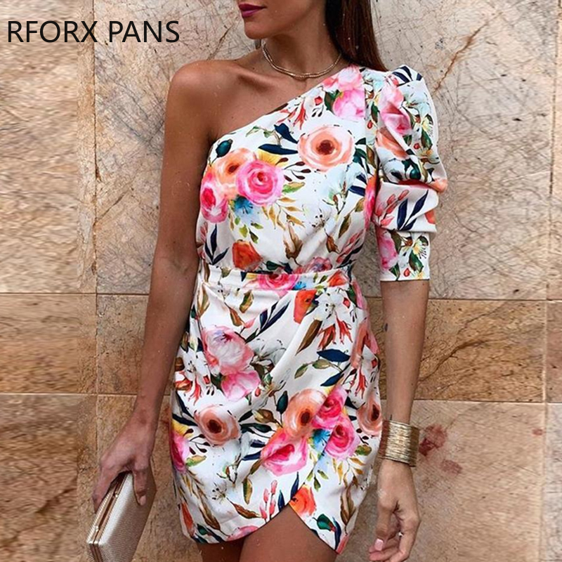 One Shoulder Floral Print Bodycon Dress|Dresses| - AliExpress