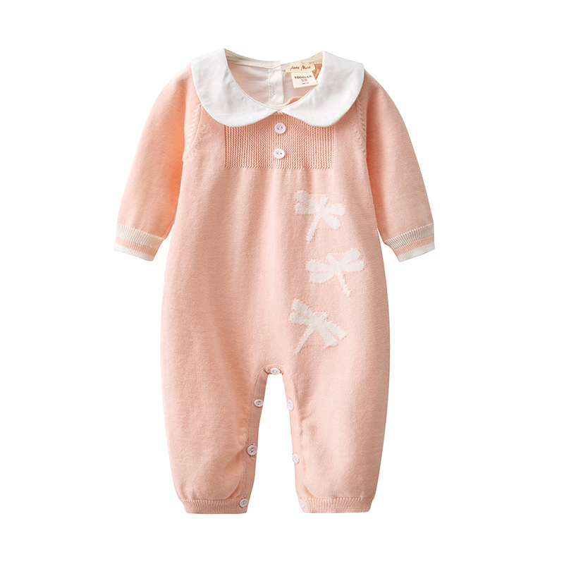 Newborn Baby Sweet Cute Pink peter pan collar Knit Romper Baby Girls outfits onesie roupa infantil