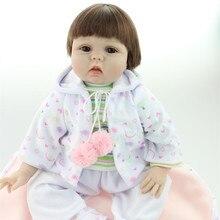 22 Inch Handmade Reborn Baby Doll Soft Silicone Cutton Body Short Brown Hair Lifelike Newborn Baby Dolls Best Gift Toys to Child