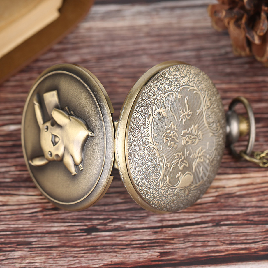 Pocket Watch Men Women Antique Bronze Cute Pikachu Pokemon Pattern Quartz Watch for Boy Girls Unisex Pendant Gift 2017 (11)