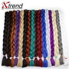 Xtrend Synthetic Kanekalon Braiding Hair Extensions  82inch 165g/Pack Long Jumbo Braids Crochet Hair Bulk Purple Pink Gray Blue