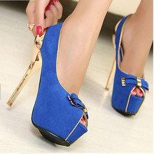 Free drop shipping bowtie ladies women shoes woman new arrive platform pumps sexy high heels party open toe suede