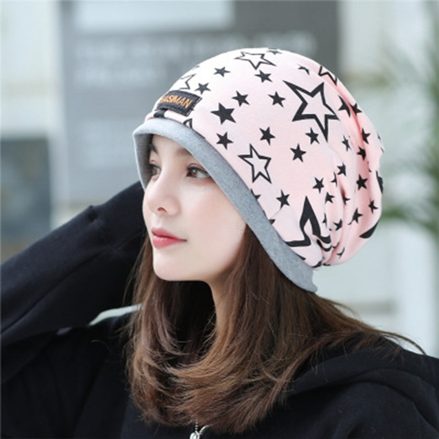 225052ce2ce US $13.0 |Fashion Women Hat Fall Winter Hats Casual Star Beanie Girls Caps  Warm Hats Ear Protection Wool Hat Beautiful Scarf Swag Cap-in Men's ...