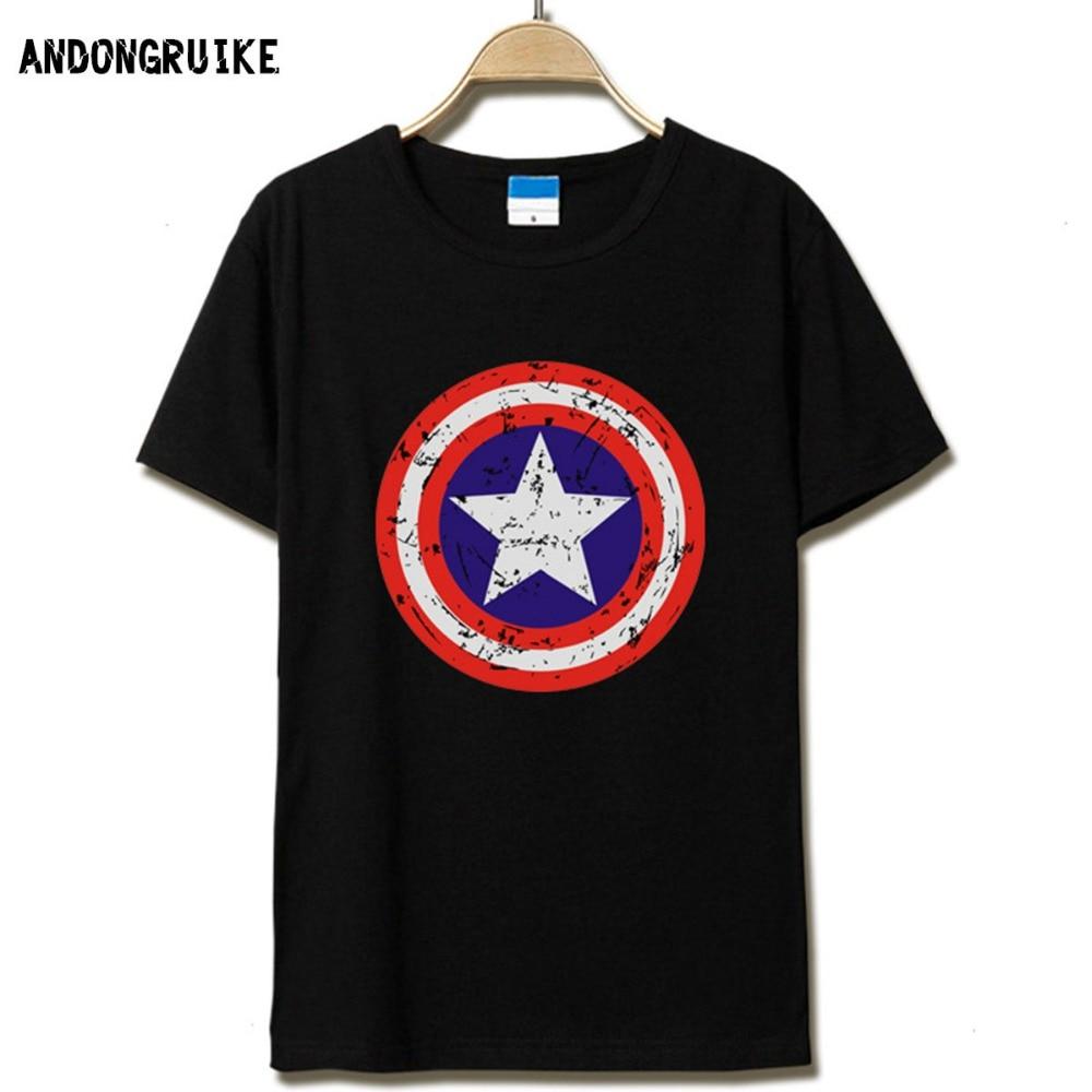 2016 New Fashion Captain America Style Shield Design Men T Shirt The Avengers Vintage Male Tops