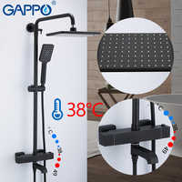 GAPPO shower system black bathroom shower set bath mixers waterfall thermostatic shower mixer tap wall mounted bathtub faucet