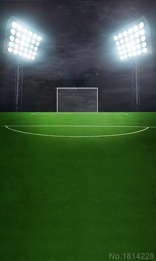 3x5ft Green Grass Football Soccer Court Field Dark Night