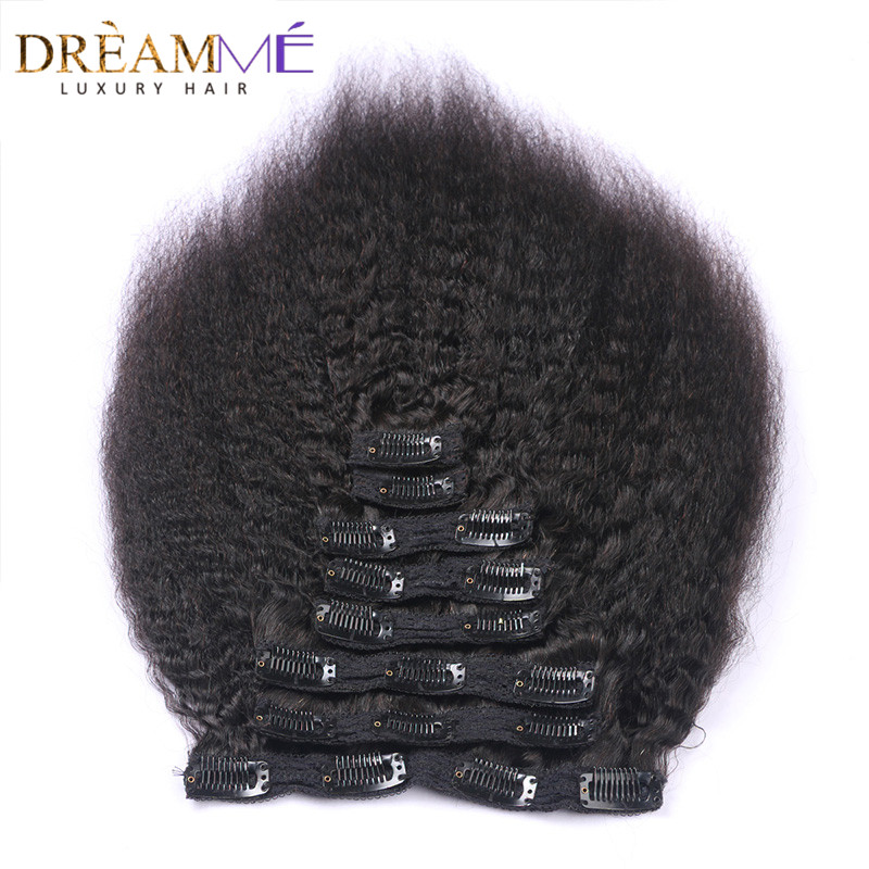 Hot Sale Dreaming Queen Kinky Straight Clips In Brazilian Human Hair