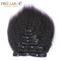Dreaming Queen Kinky Straight Clips In Brazilian Human Hair Extensions 120g 8pcs/Set Coarse Yaki Clip Ins Machine Made Remy