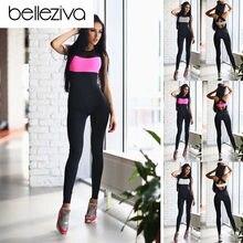 f1456b180db63 Belleziva Kadın Spor Giyim Spor Yoga Koşu Spor İnce Egzersiz Tulum Kadın  Spor Kıyafet Eğitim Spor Takım Elbise Eşofman