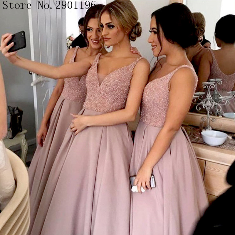 Robe De Soiree 2017 Plus Size Beaded Nude Pink Prom Dresses Long Sleeveless Satin A -3413