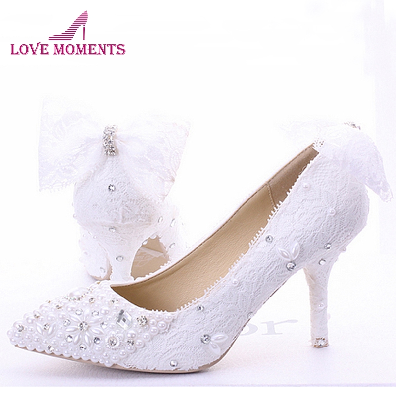 Wedding Shoes White Lace Custom Made High Heel Pumps Bridal Shoes Ladies Evening Party Shoes Pumps Pointed Toe Bridesmaid Shoes women s fashion gold lace dinner evening party pumps shoes plus sizes low high heels custom made bridal wedding shoes