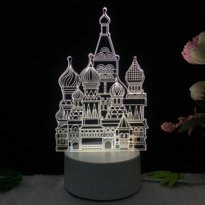 Quality 3D Small Night Light Acrylic LED Table Lamp Tower Moon Cartoon Animal Luminous Pattern Creative Gifts Decoration JY