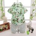 2016 del verano del nuevo de Hawaii de vacaciones de hojas de estilo patrón de la blusa a rayas + pantalón 2 unids bebés de la ropa juego para niños recién nacido establece