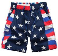 Летние Мода 2017 г. Для мужчин пляж эластичной резинкой на талии быстросохнущие низкой посадкой Большие размеры 3XL Шорты для женщин флаг США Д