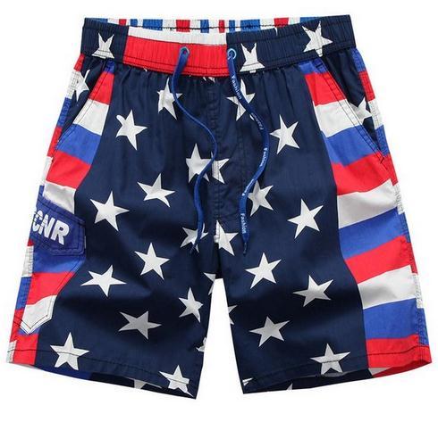 Лето 2018 модные спортивные мужские пляжные эластичные талии Drawstring быстросохнущие низкой талией 3XL шорты флаг США мужские шорты