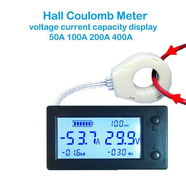 50A 100A 200A 400A STN LCD Hall Coulomb mètre compteur tension amplificateur de courant capacité indicateur affichage eBike voiture Isolation moniteur