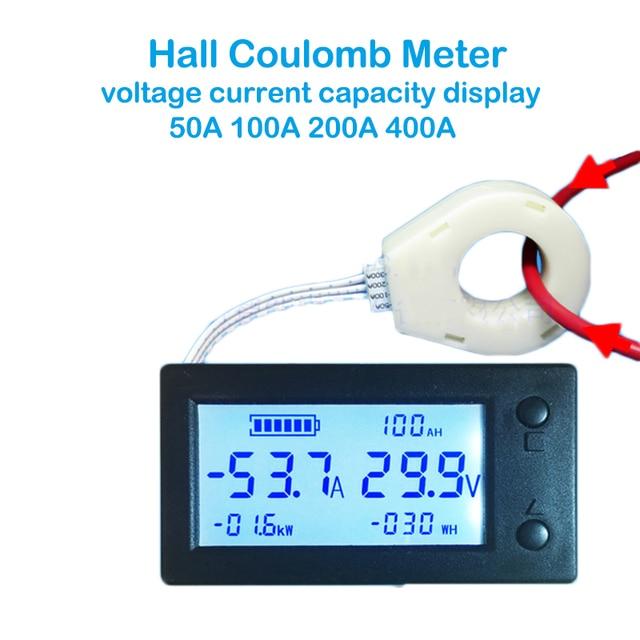 50A 100A 200A 400A Stn Lcd Sala Coulomb Contatore Misuratore di Tensione di Corrente Amp Indicatore di Capacità di Visualizzazione Ebike Auto Isolamento Monitor