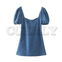 CUERLY women vintage denim mini dress back zipper bow tie cut out puff sleeve female casual vintage dresses vestido mujer cut out bow back dip hem top