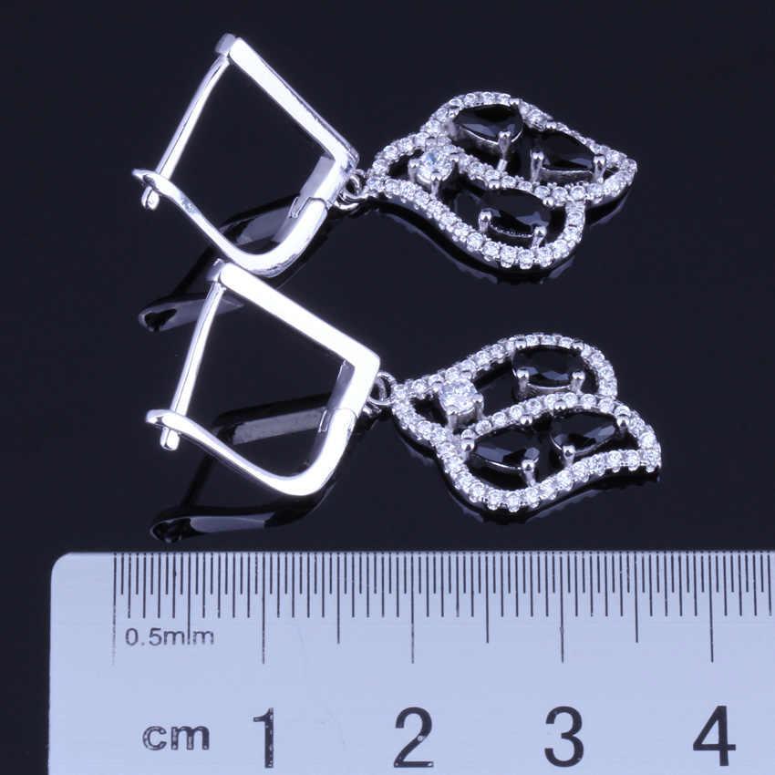 Linda Folha Preto Zirconia Cúbico Branco CZ 925 Esterlina Conjuntos de Jóias de Prata Para As Mulheres Brincos de Pingente Cadeia V0025