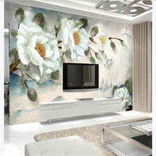 цена на Custom wallpaper simple hand-painted oil painting peony flower European background wall painting advanced waterproof material