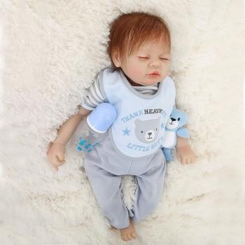 Boneca Bebes Reborn 22inch Soft Silicone Vinyl Dolls 55cm Soft Silicone Reborn Baby Doll gift Newborn boy babies Lifelike