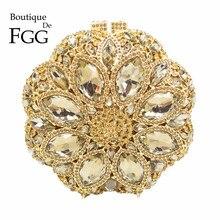 Circular Round Ladies Gold Crystal Evening Clutch Bag Rhinestones Bridal Wedding Clutches Purse Women Party Mini Dinner Handbags